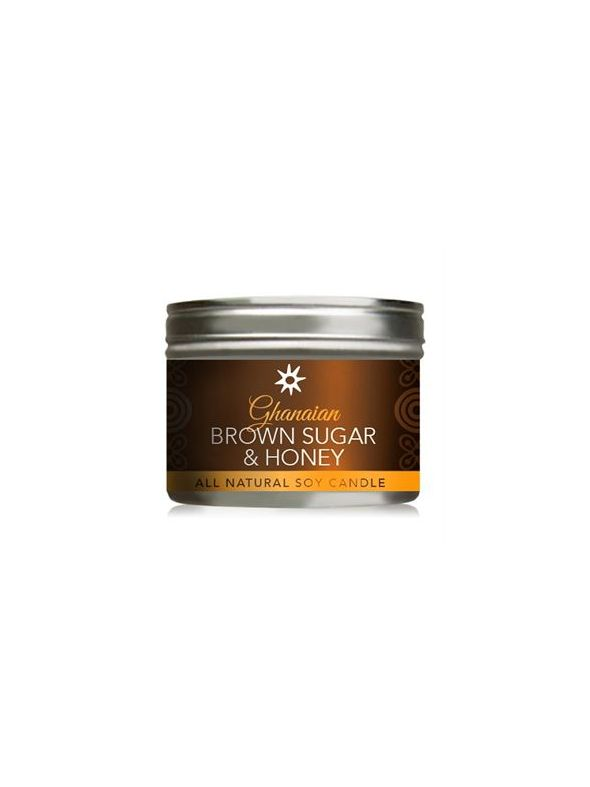 Ghanaian Brown Sugar Honey All-Natural Soy Candle In Tin