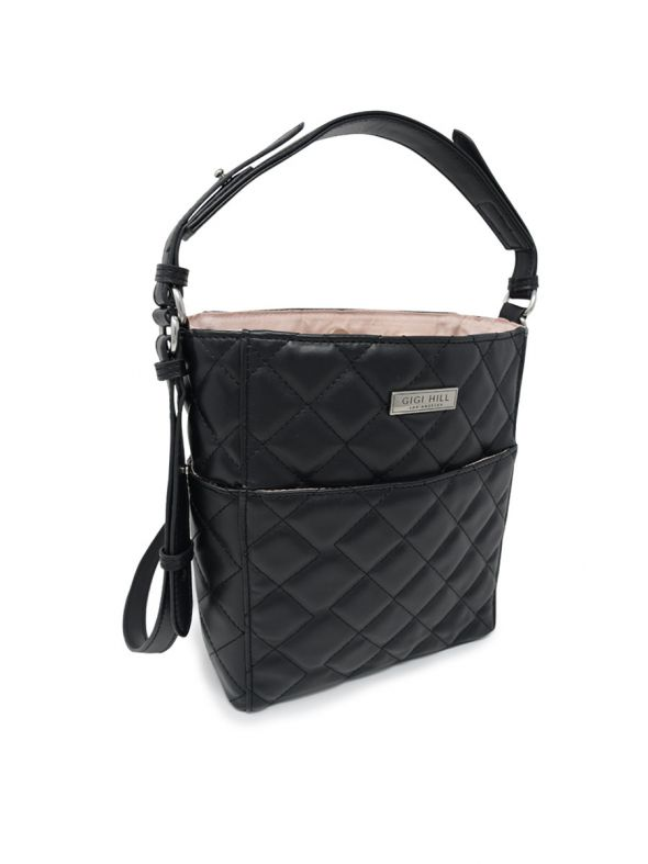 Ella Quilted Black Mini Bucket Bag