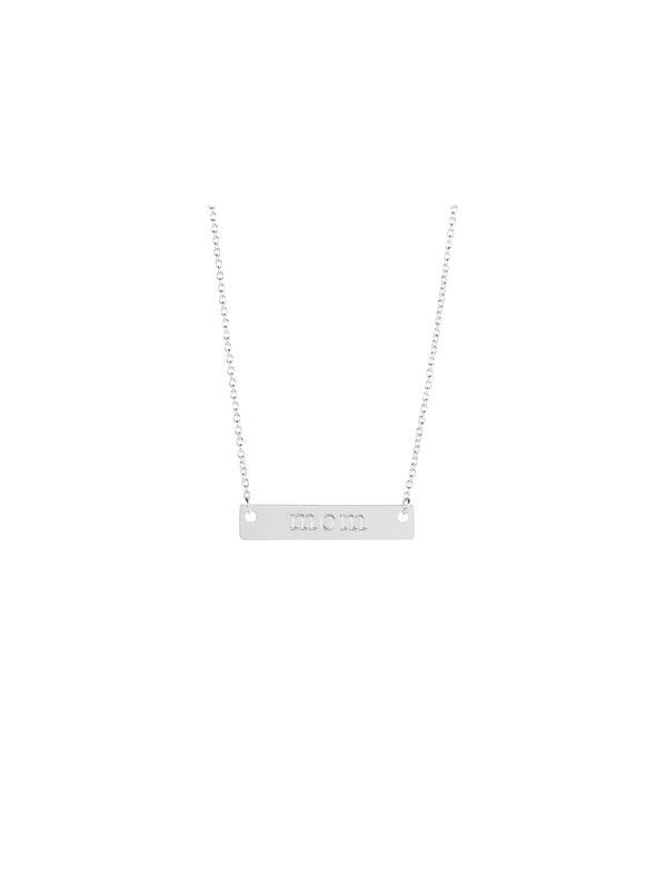 "Silver 'Mom' Bar Necklace - 16"""